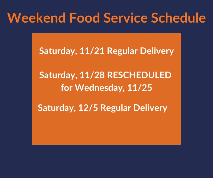 Weekend Food Service Schedule