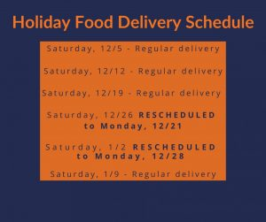 Holiday Food Service Schedule